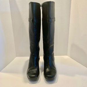 Clarks Black Leather High Heel Boots Women's 8.5M